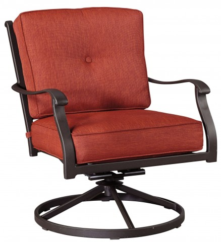 Burnella Orange and Brown Outdoor Swivel Lounge Chair Set of 2