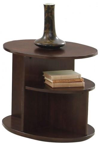 Metropolian Dark Cherry & Birch Oval End Table