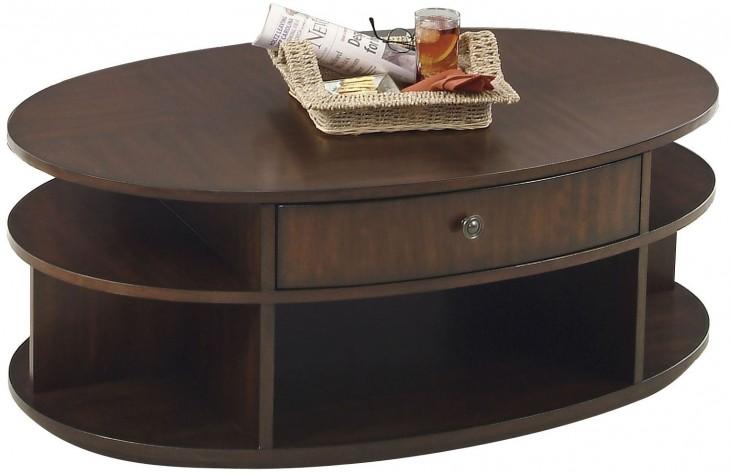 Metropolian Dark Cherry & Birch Oval Lift-Top Cocktail Table