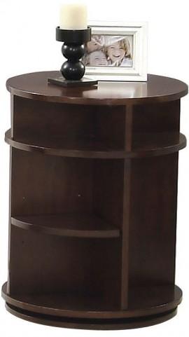 Metropolian Dark Cherry & Birch Swivel Chairside Table