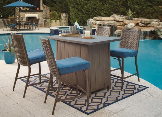 Partanna Blue and Beige Outdoor Bar Set