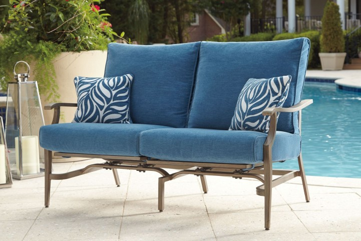 Partanna Blue and Beige Outdoor Motion Loveseat Set of 2