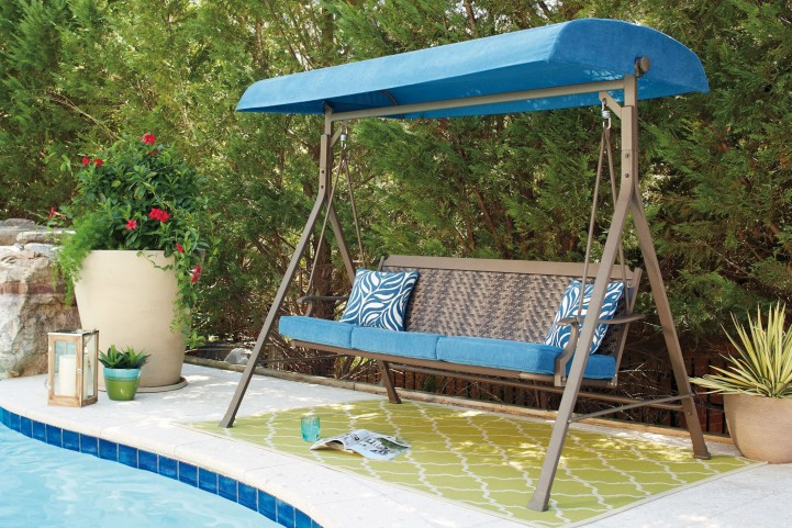 Partanna Blue and Beige Outdoor Swing Chair