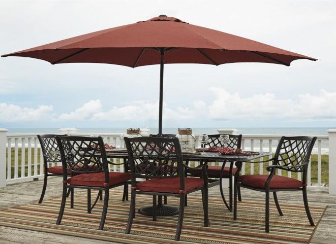 Admirable Tanglevale Burnt Orange Outdoor Extendable Rectangular Dining Room Set Download Free Architecture Designs Momecebritishbridgeorg