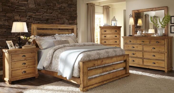 Willow Distressed Pine Slat Bedroom Set