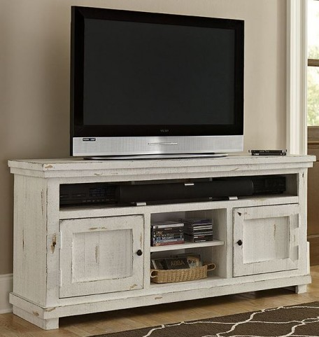 """Willow Distressed White 64"""" Console"""