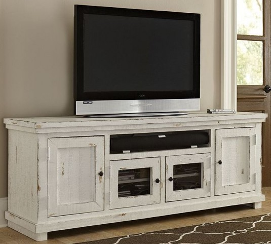 """Willow Distressed White 74"""" Console"""