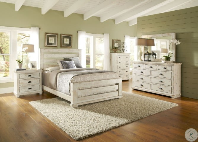 willow distressed white slat bedroom set from progressive