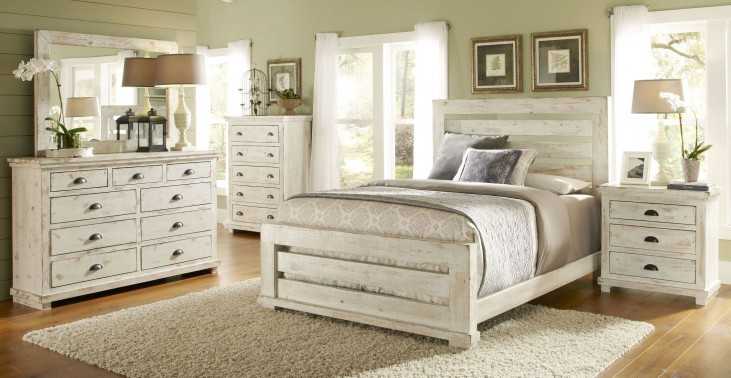 Willow Distressed White Slat Bedroom Set