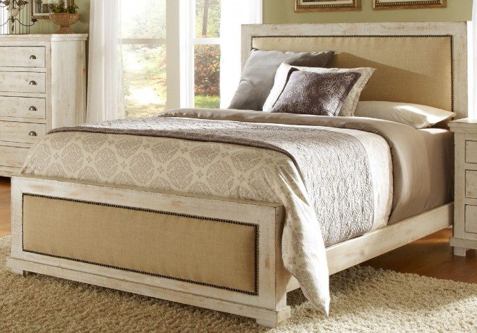 Willow Distressed White King Upholstered Bed