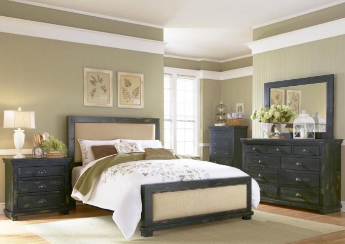 Willow Distressed Black Upholstered Bedroom Set