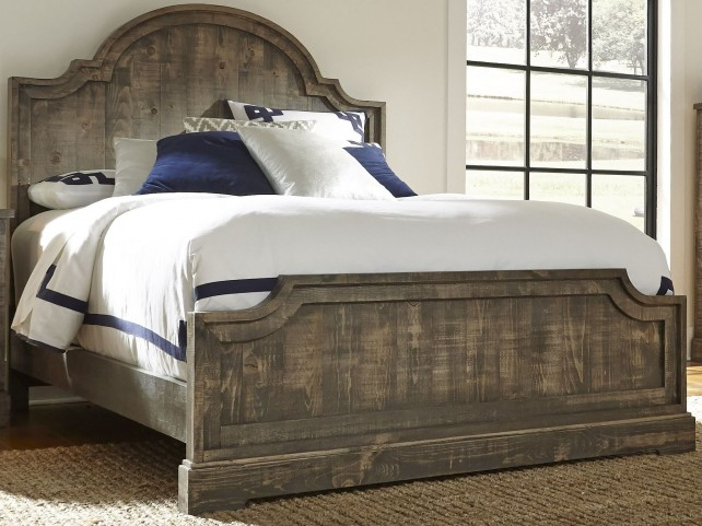 Meadow Weathered Gray King Panel Bed
