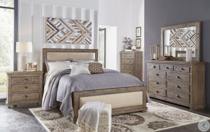 Willow Weathered Gray Upholstered Bedroom Set From Progressive Furniture Coleman Furniture