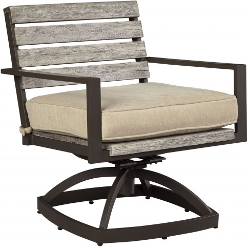 Peachstone Beige and Brown Outdoor Swivel Chair Set of 2