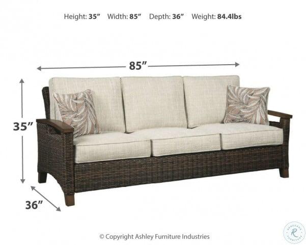 Paradise Trail Medium Brown Outdoor Sofa with Cushion