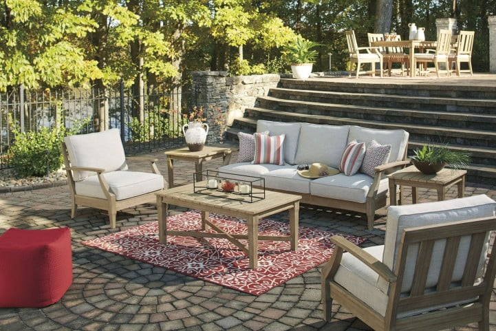 Clare View Beige Outdoor Sofa with Cushion from Ashley ... on Clare View Beige Outdoor Living Room id=80837