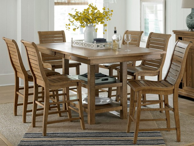 Willow Distressed Pine Rectangular Extendable Counter Dining Room Set