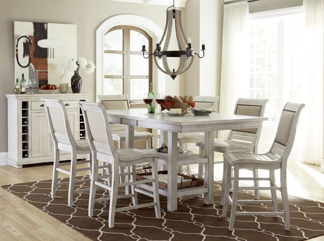 Willow Distressed White Rectangular Extendable Counter Height Dining Table