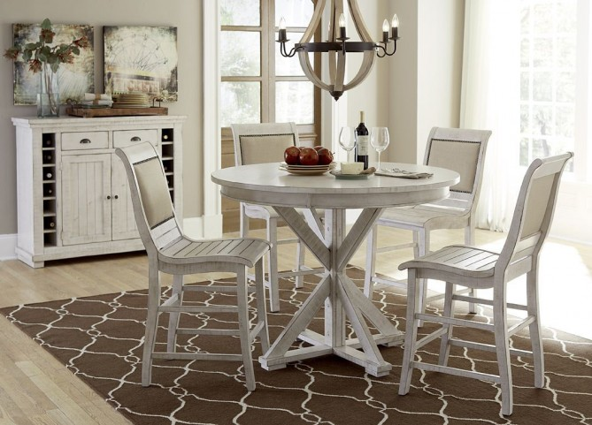 Willow Distressed White Round Counter Height Dining Room Set