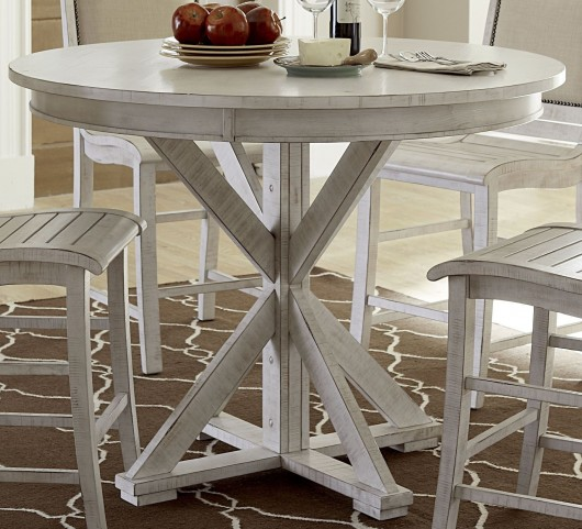Willow Distressed White Round Counter Height Dining Table