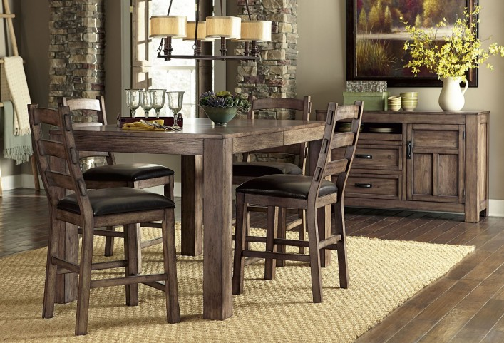 Boulder Creek Pecan Veneer Counter Dining Room Set