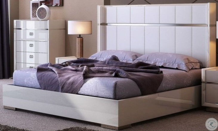Paris White Platform Bedroom Set