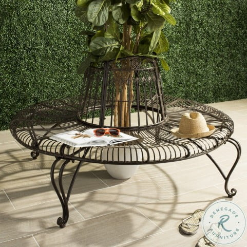 """Ally Darling Rustic Brown Wrought Iron 60.25"""" Outdoor Tree Bench"""