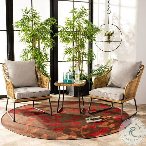 Jensen Natural And Gray 3 Piece Outdoor Conversation Set From Safavieh Coleman Furniture