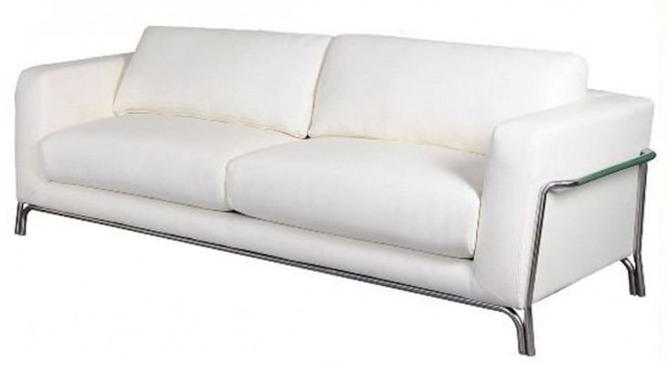 Perch White Leather Sofa