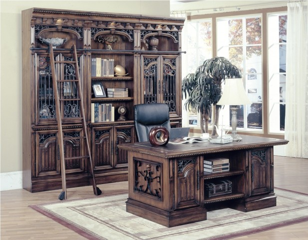 Barcelona Bookcase Wall with Executive Desk