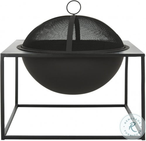 Leros Black Square Outdoor Fire Pit
