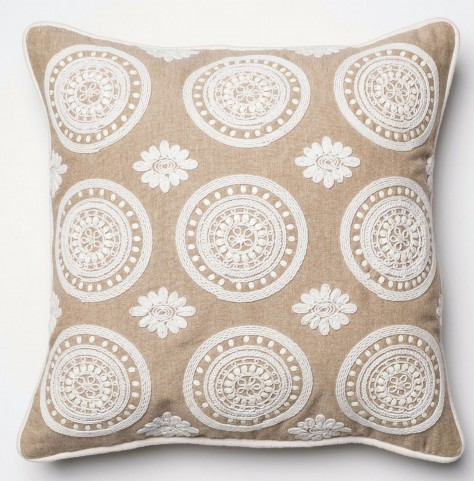 Brooke Beige and White Square Pillow