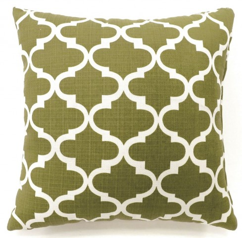 "Xia Green Quatrefoil 22"" Pillow Set of 2"