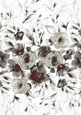 Platinum White/Grey/Red Rose Medium Rug