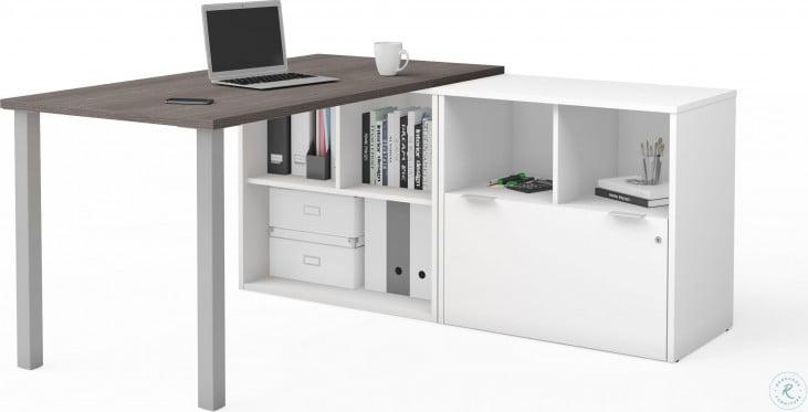I3 Plus Bark Gray And White L Desk 1 File Drawer L Desk From Bestar Coleman Furniture