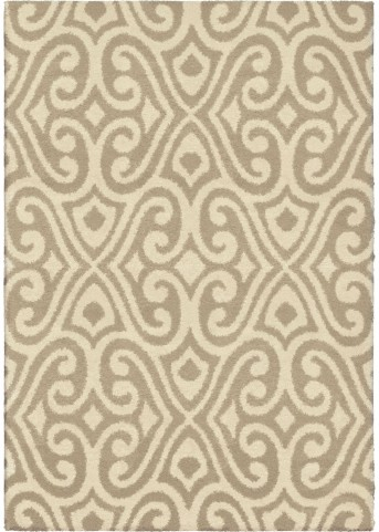 Modern Grace Plush Damask Santee Tan Small Area Rug