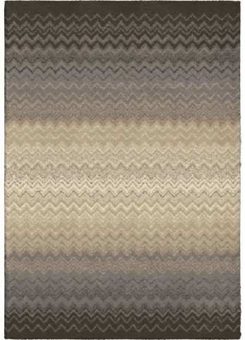 Modern Grace Plush Waves Zig Zag Chevron Gray Small Area Rug