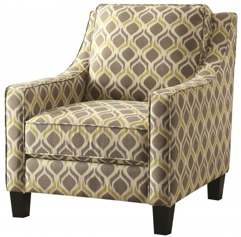 Grey and Yellow Pattern Accent Chair