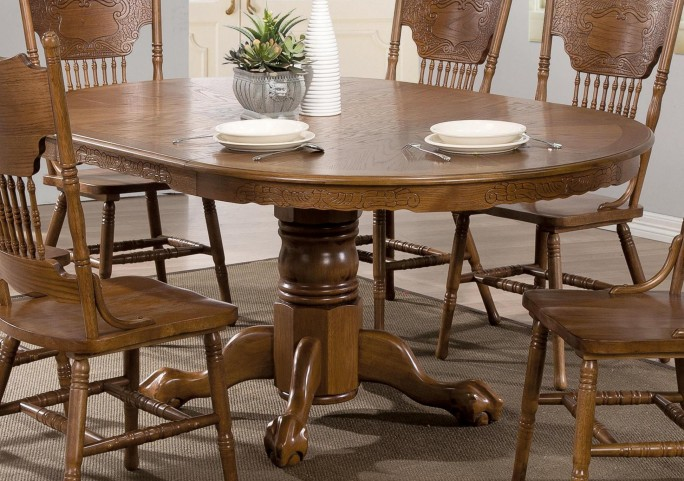Brooks Oak Oval Extendable Dining Table