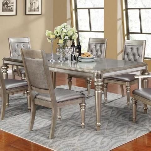 Danette Metallic Platinum Extendable Rectangular Dining Table