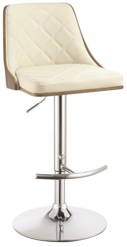 Ecru Upholstered Adjustable Bar Stool