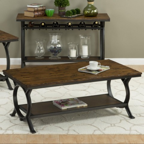 Harper's Press Dark Rustic Pine Cocktail Table