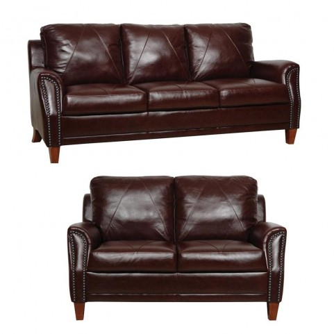 Austin Sienna Italian Leather Living Room Set from Luke Leather ...