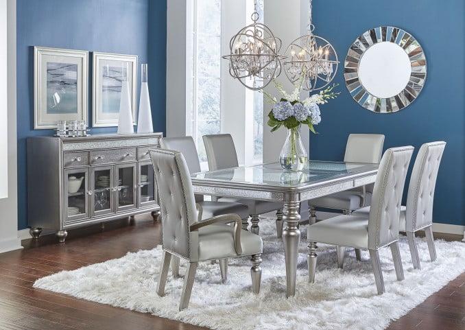 Posh Silver Luxe Mirror Trim Leg Dining Table