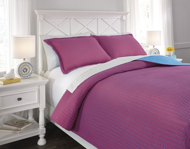 Dansby Magenta and Aqua Full Coverlet Set