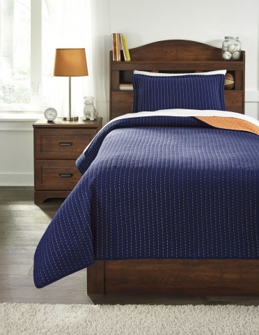 Dansby Navy and Orange Twin Coverlet Set