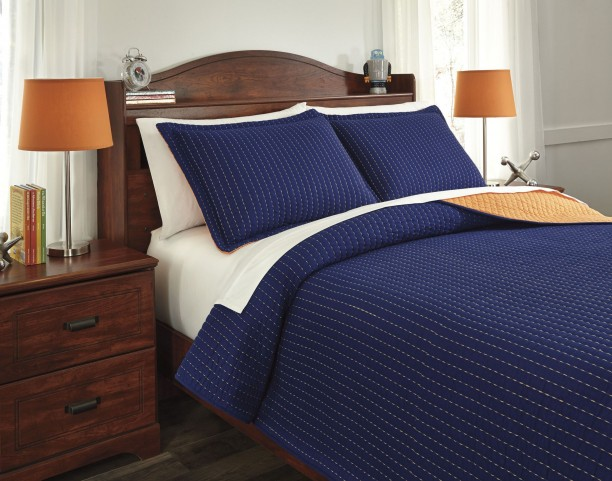 Dansby Navy and Orange Full Coverlet Set
