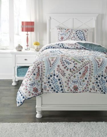 Danniell Aqua and Orange Twin Comforter Set