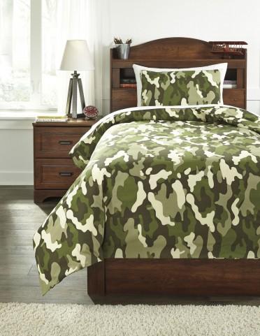 Dagon Tan and Green Twin Comforter Set