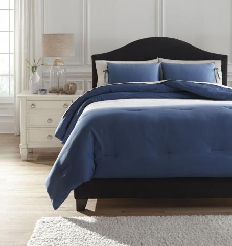 Aracely Blue Queen Comforter Set